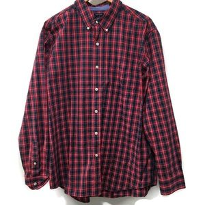 CHAPS Easy Care red plaid button down men's XL